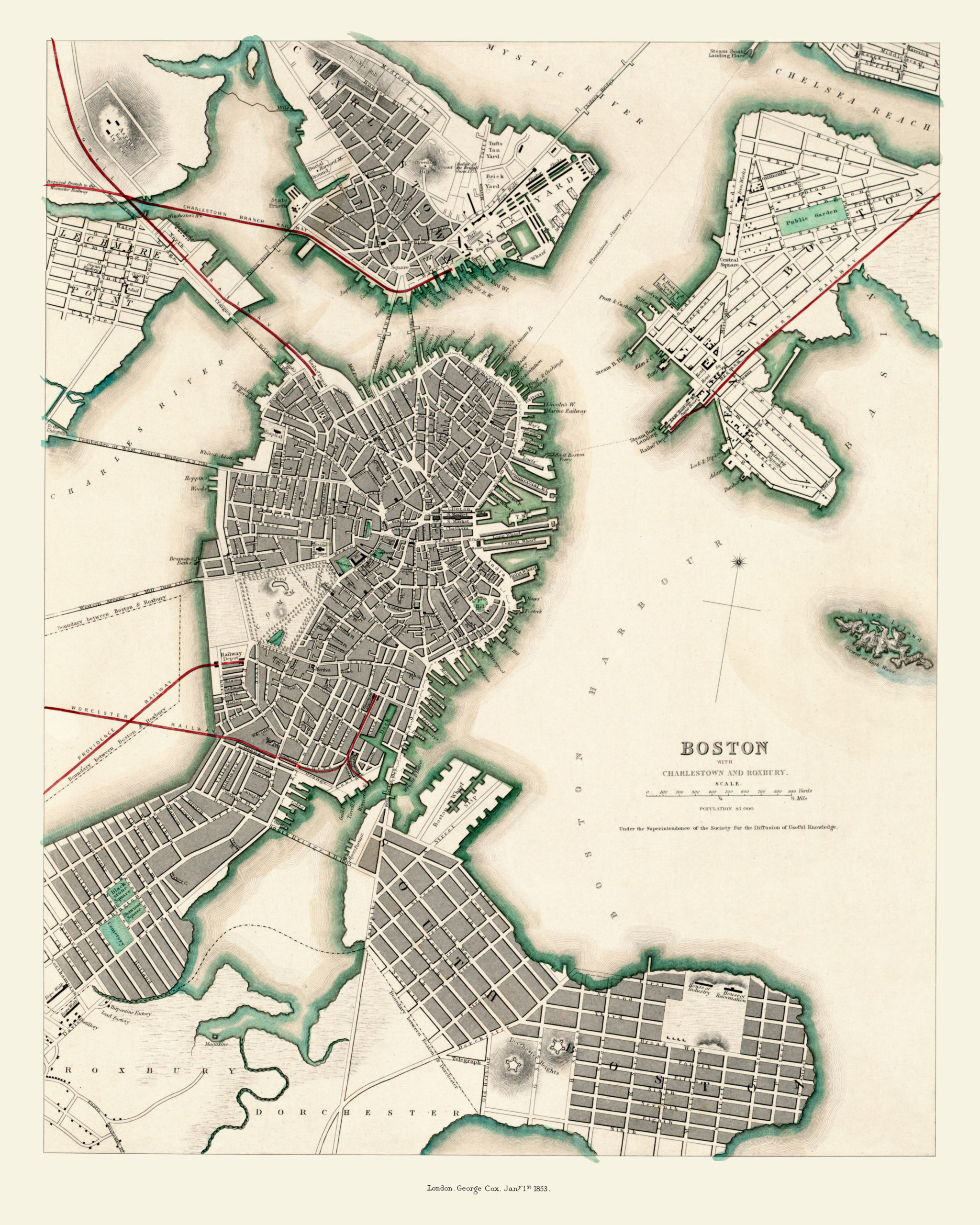 old maps of boston Aerial Map Of Boston Charlestown And Roxbury Massachusetts In old maps of boston