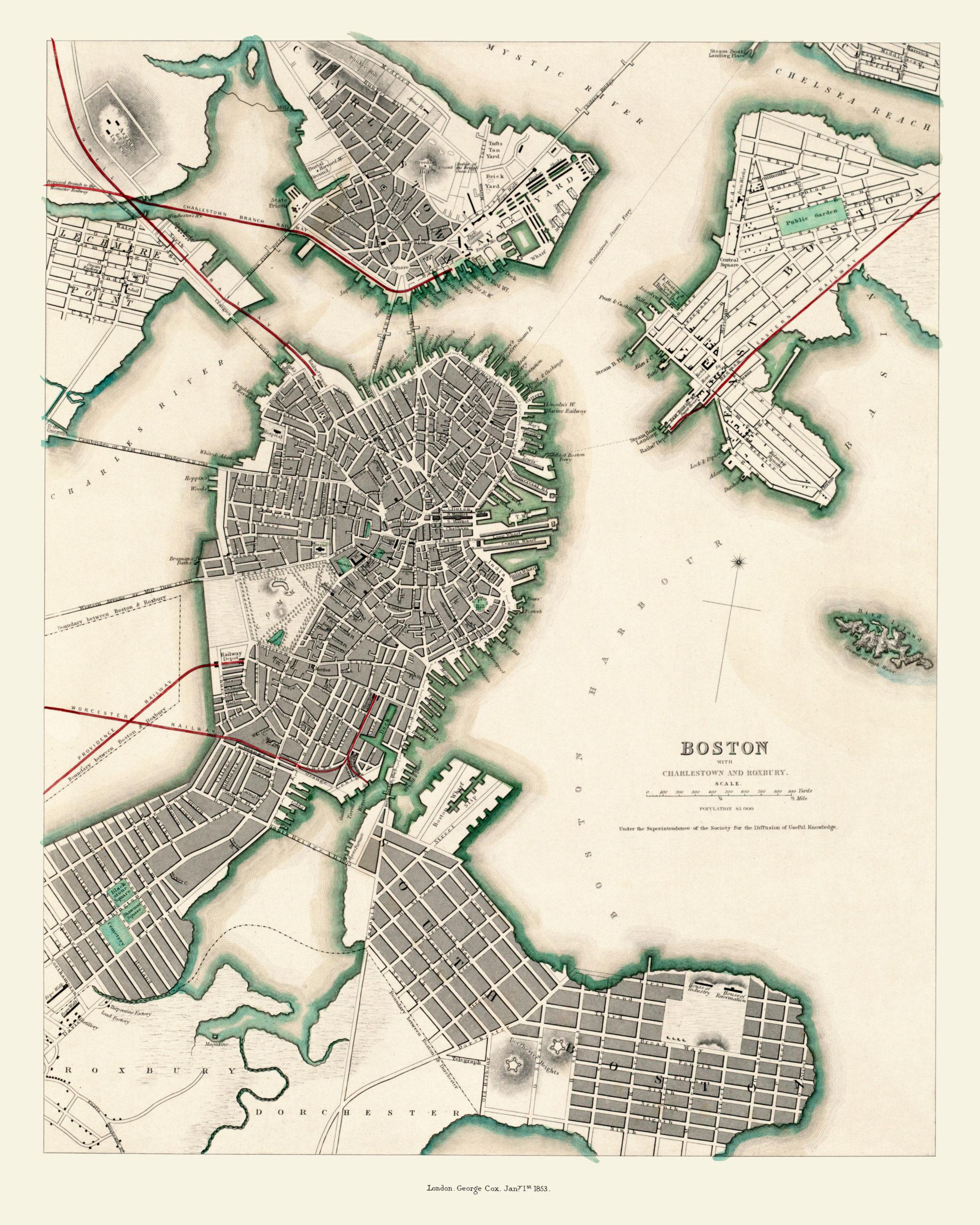 Aerial Map Of Boston Charlestown And Roxbury Massachusetts In