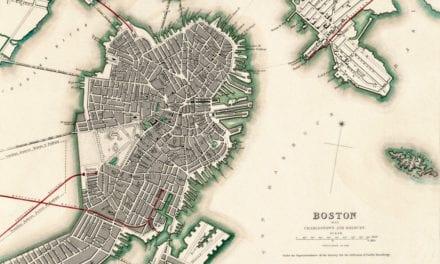 Aerial map of Boston, Charlestown and Roxbury, Massachusetts in 1853