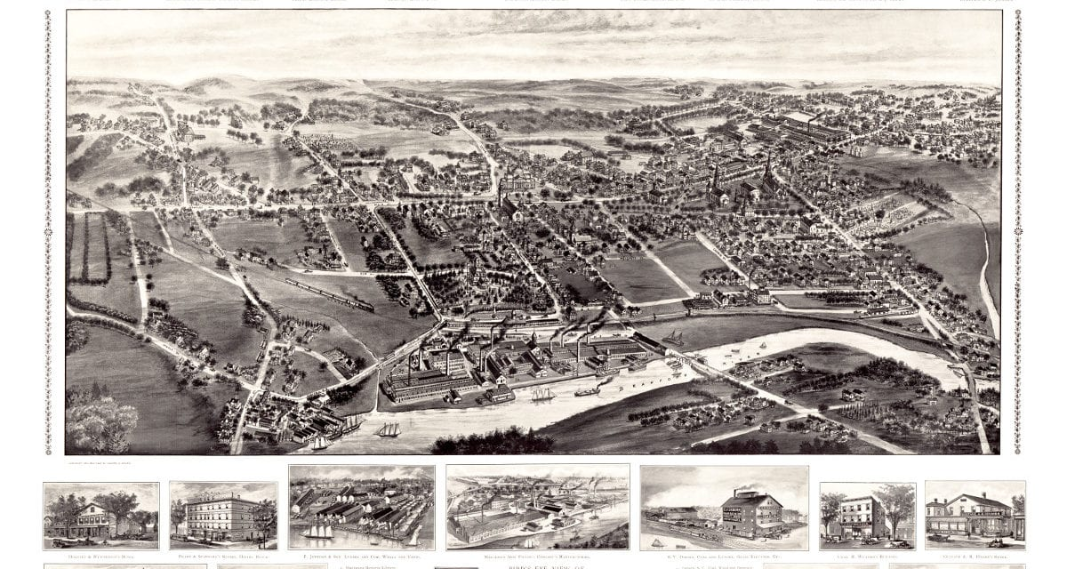 Bird's eye view of Branford, Connecticut in 1905
