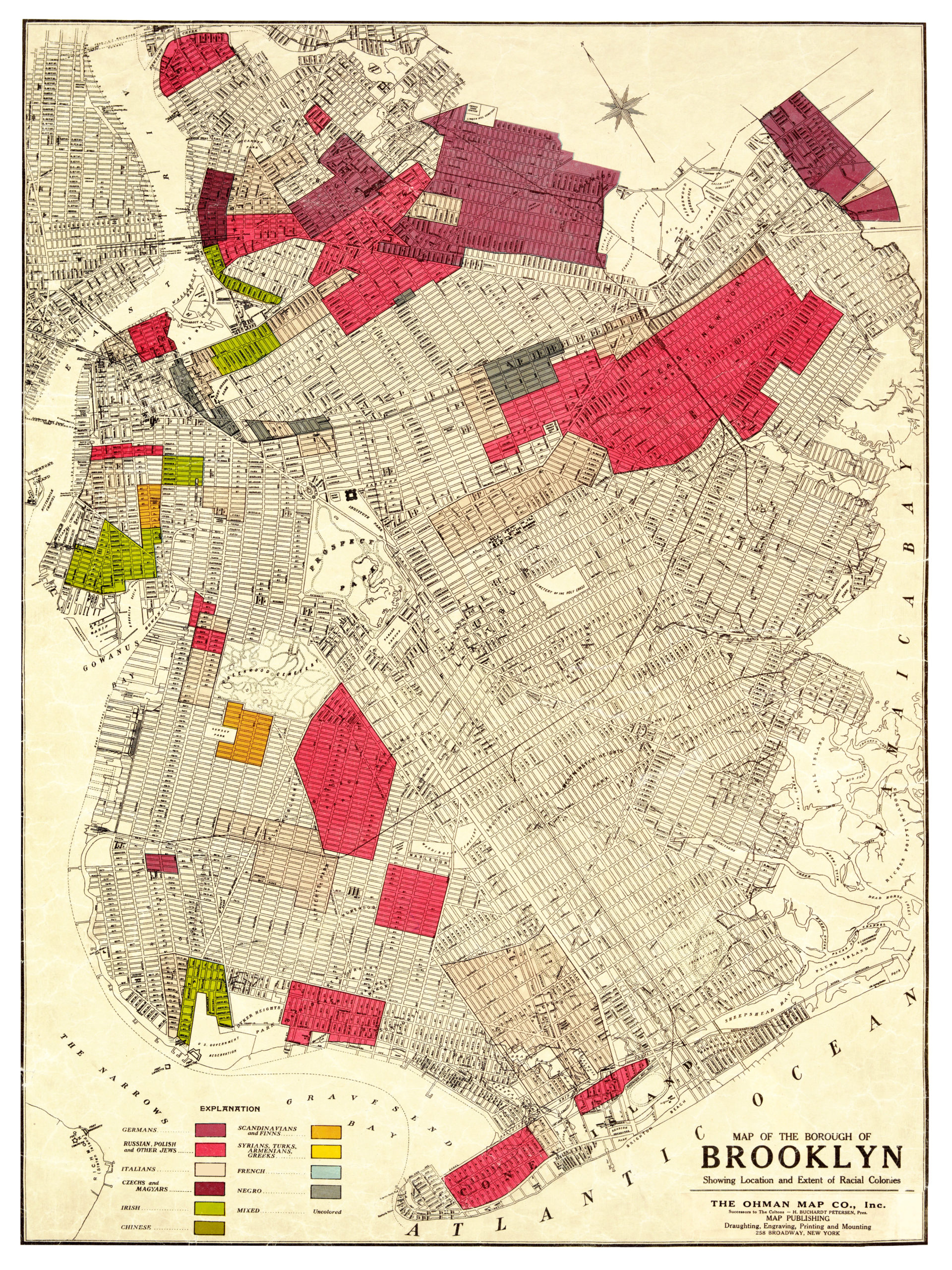 Map Of New York Ny Neighborhoods.Map Of Brooklyn S Racial Diversity By Neighborhood 1920 Knowol