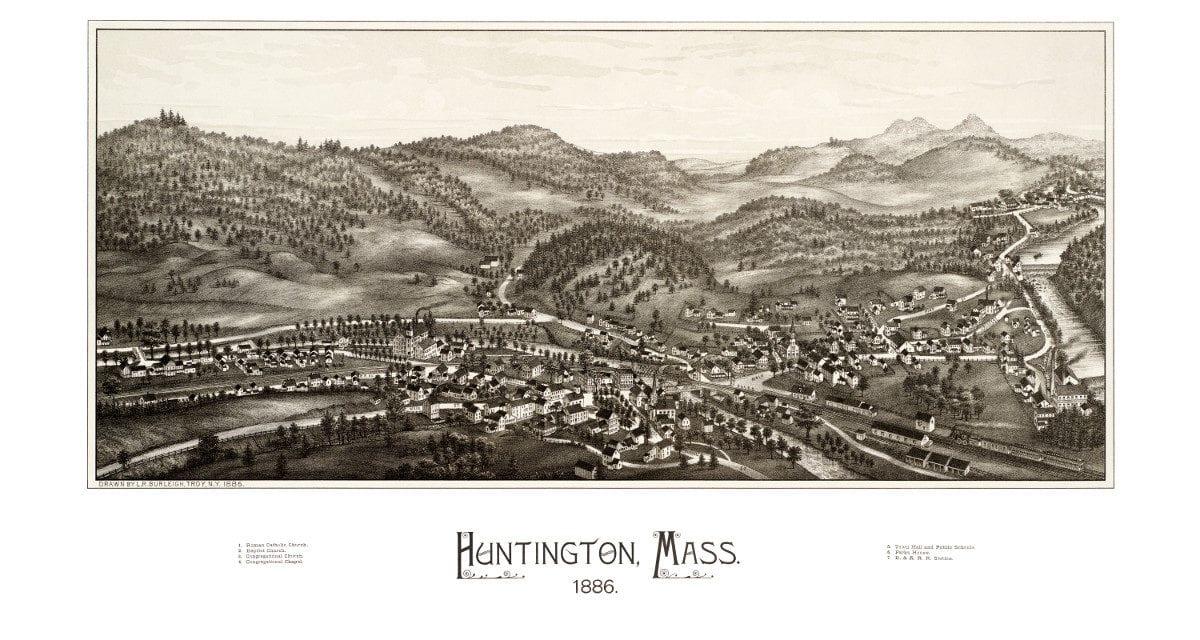 Bird's eye view of Huntington, Massachusetts from 1886