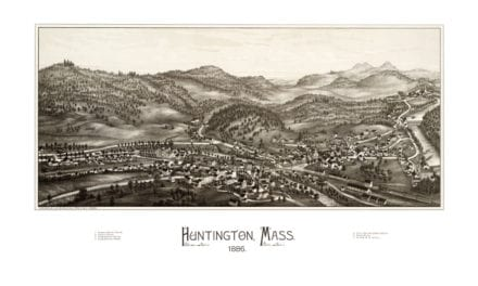 Bird's eye view of Huntington, Massachusetts from 1886