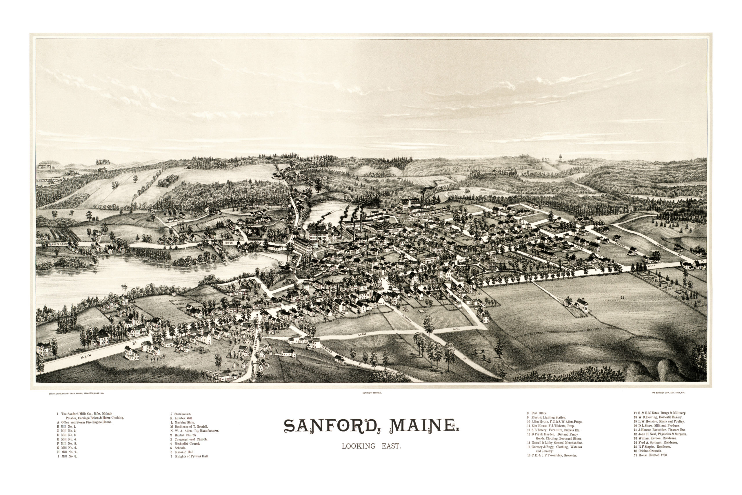 Beautiful Map Showing Bird S Eye View Of Sanford Maine In 1889 Knowol