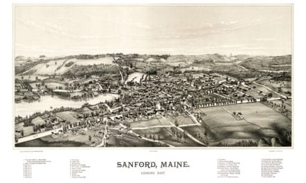 Beautiful map showing bird's eye view of Sanford, Maine in 1889