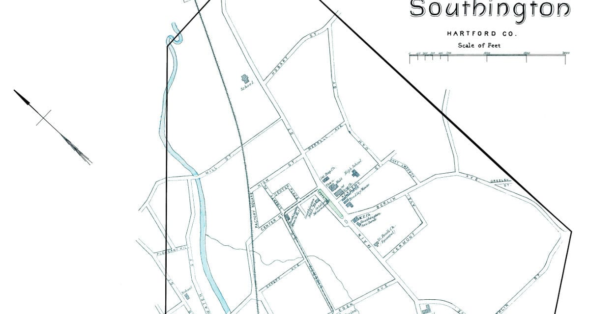Historic map of the borough of Southington, CT from 1893