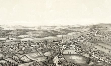 Bird's eye view of Westford, Massachusetts from 1886