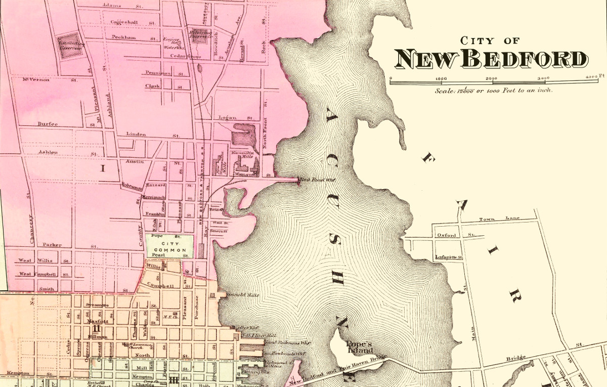 historical map of new bedford  massachusetts from 1871