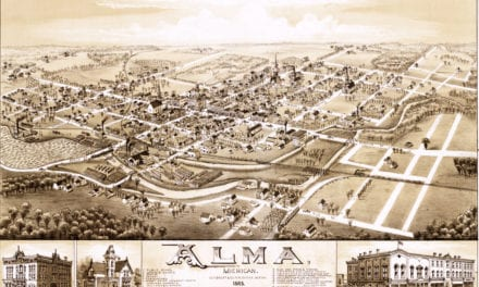 Detailed bird's eye view of Alma, Michigan from 1885