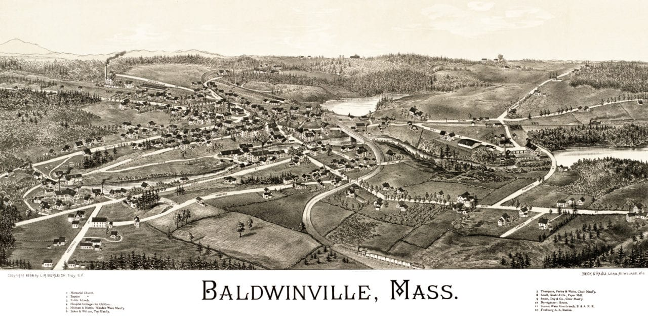 Hand Drawn Map of Baldwinville, Massachusetts from 1886