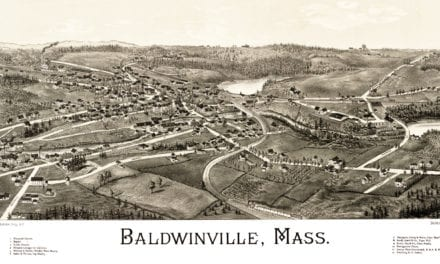 Hand Drawn Map of Baldwinville, Massachusetts from 1886