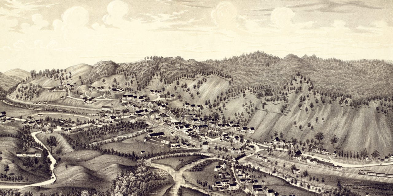 Beautiful old map shows bird's eye view of Bethel, VT in 1886