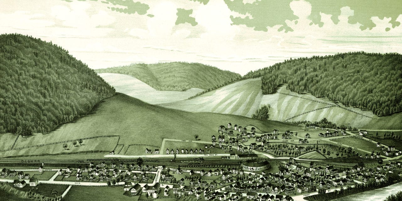 Amazing bird's eye view of Hallstead, PA in 1887