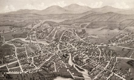 Beautiful bird's eye view of Laconia, NH from 1883