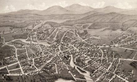 Beautiful bird's eye view of Laconia, NH from 1883