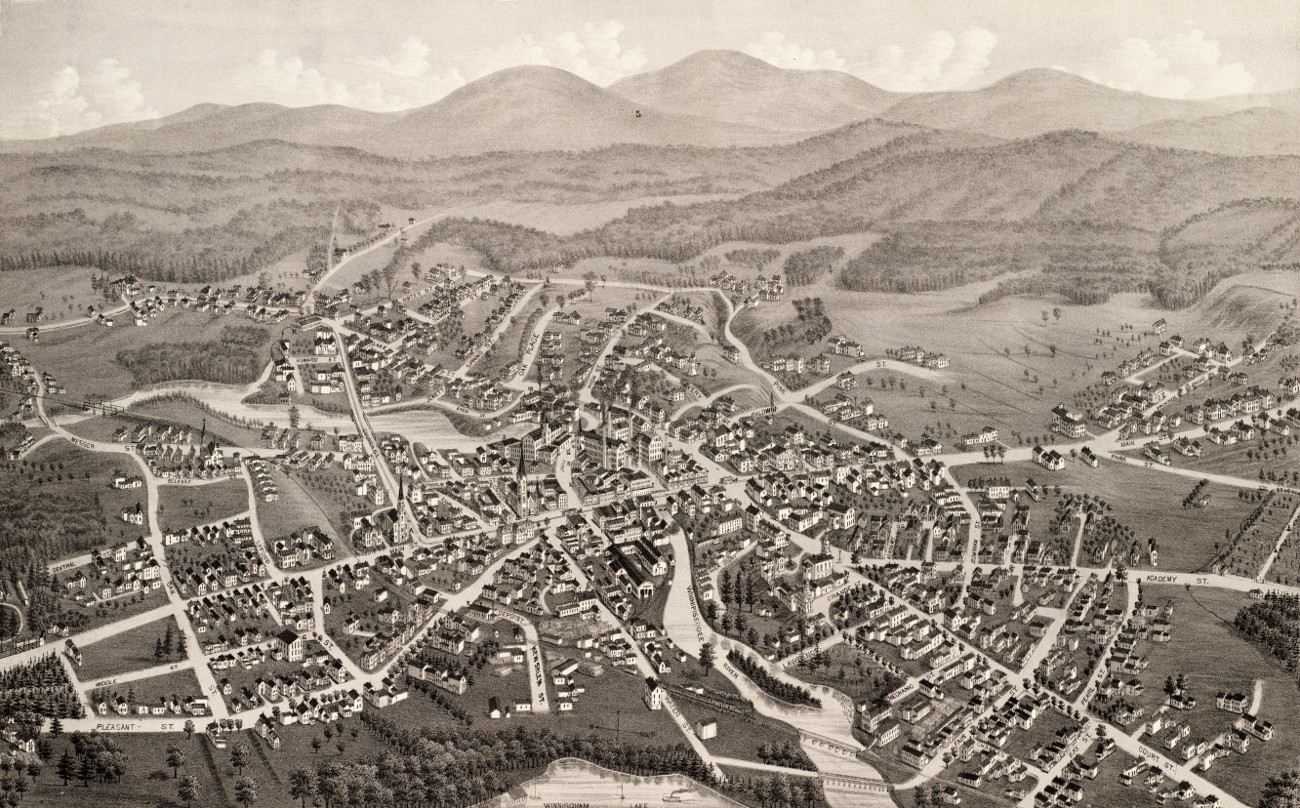 Old Laconia New Hampshire Map Shows Bird S Eye View Of