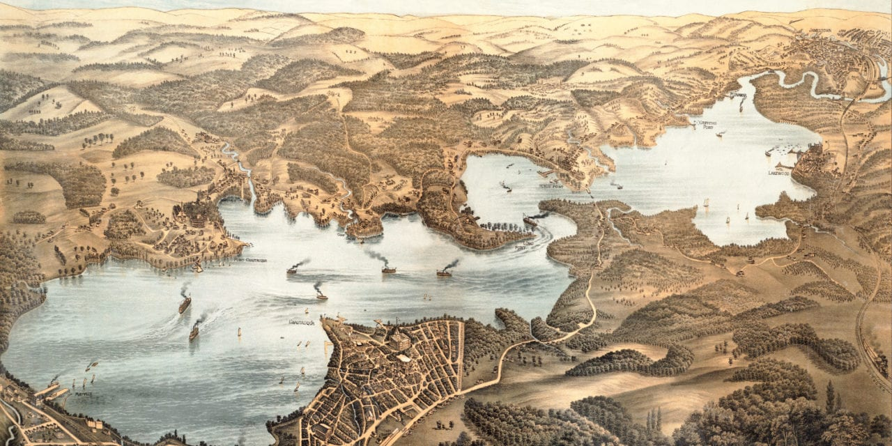 Beautifully restored map of Lake Chautauqua from 1885