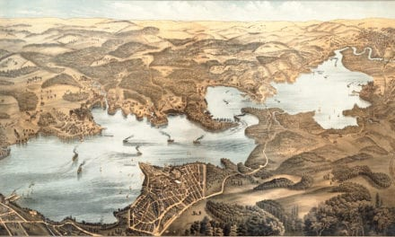Beautifully restored map of Lake Chautauqua from 1885