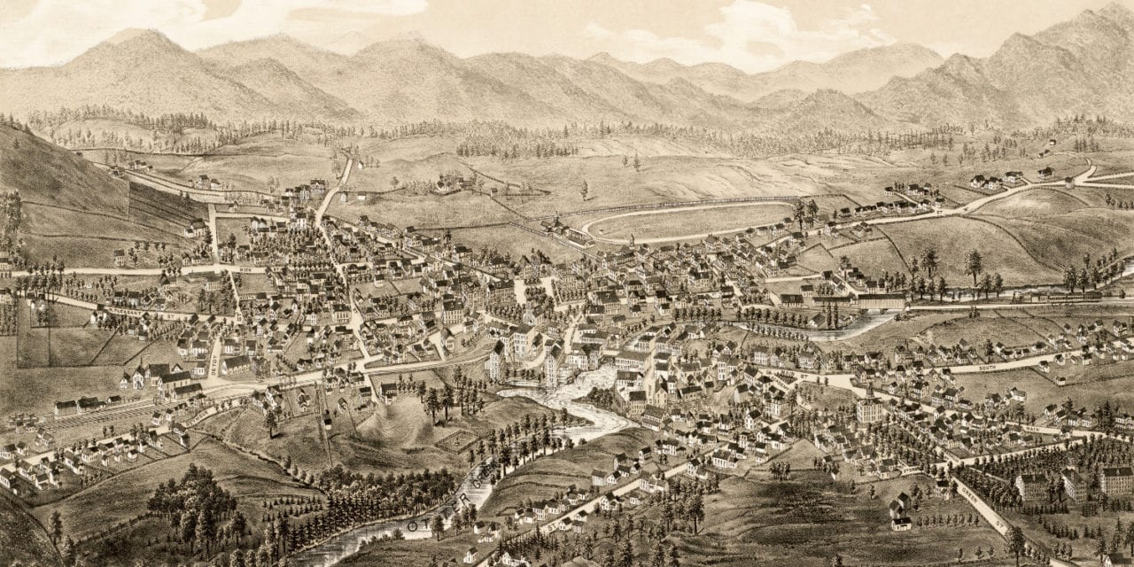 Beautiful hand drawn map of Middlebury, Vermont from 1886