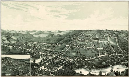 Hand drawn map of Plainville, Massachusetts from 1887
