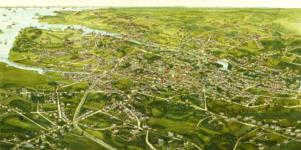 Beautiful hand drawn map of Stamford, Connecticut in 1883