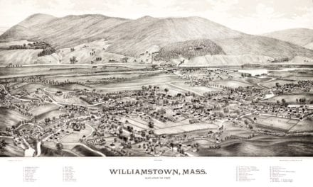 Bird's eye view of Williamstown, Massachusetts in 1889