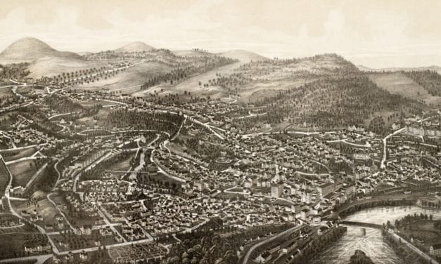 Hand drawn map of Brattleboro, Vermont from 1886