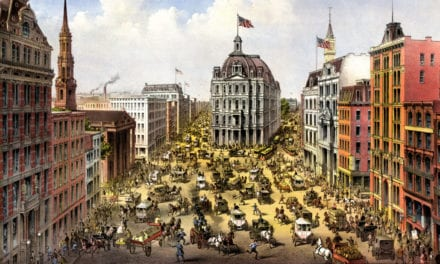 Bird's eye view of Broadway in New York City in 1875