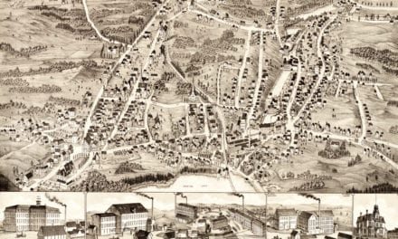 Bird's eye view of Gardner, Massachusetts in 1880