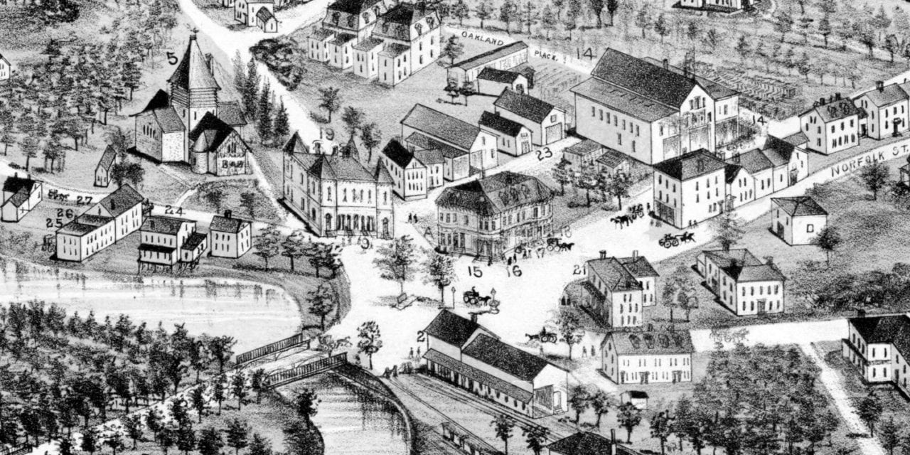 Beautifully restored map of Mattapan, MA from 1890