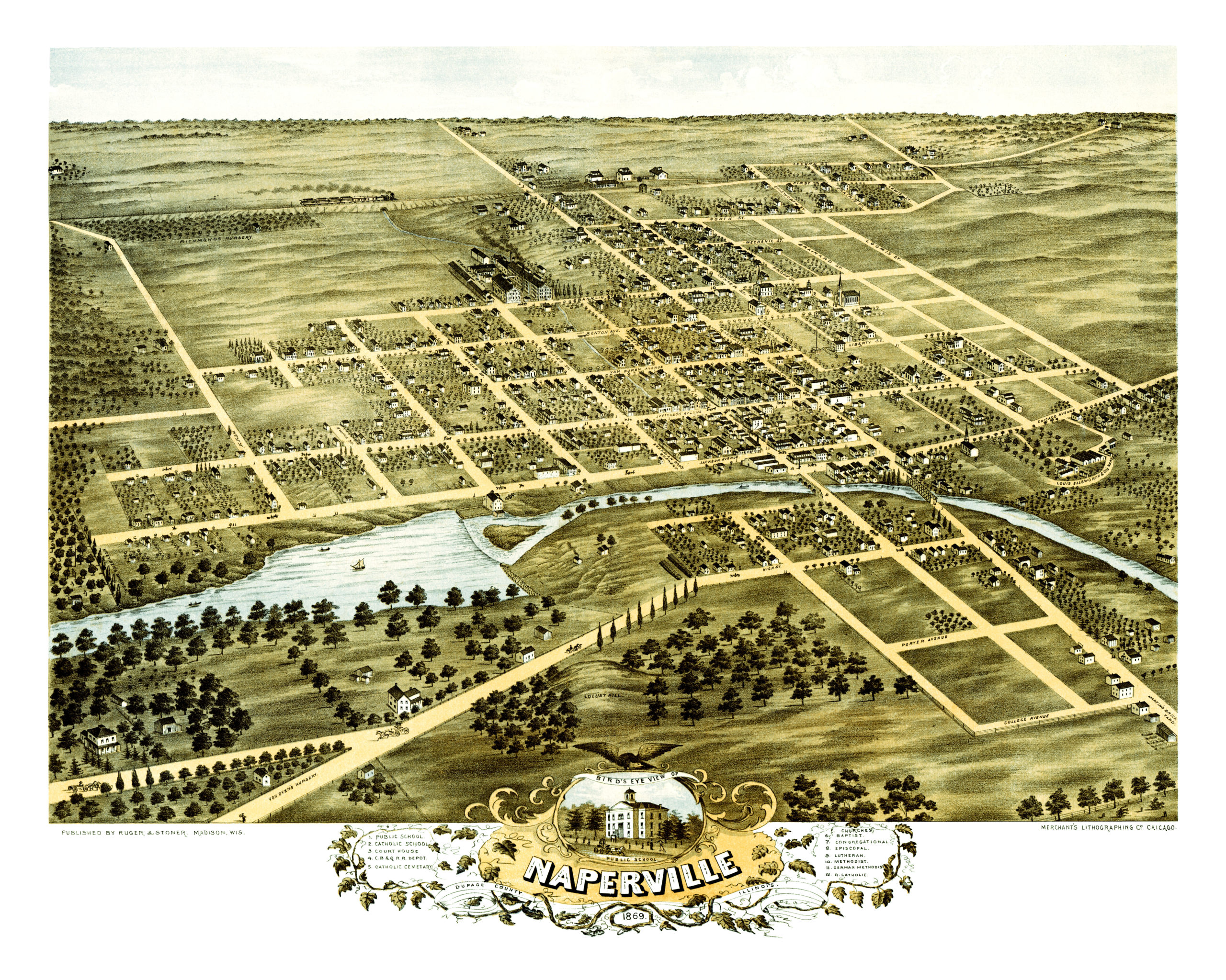 Beautifully restored map of Naperville IL from 1869 KNOWOL
