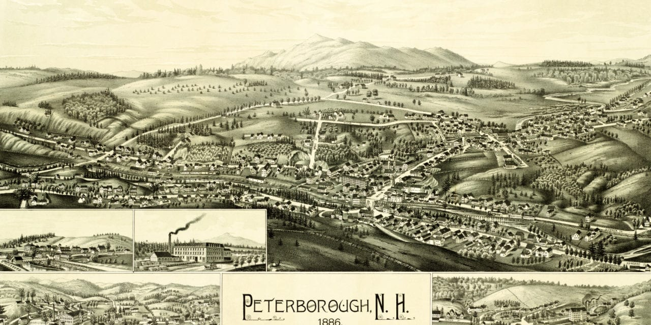 Historic map of Peterborough, New Hampshire from 1886
