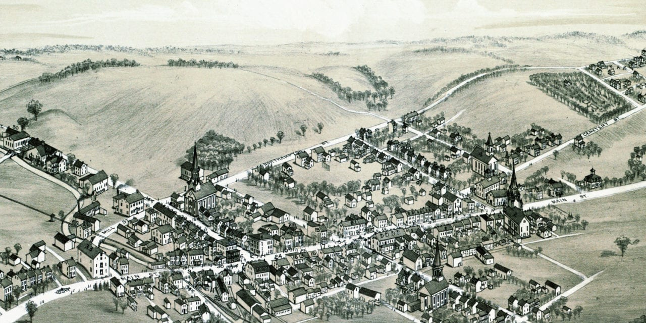 Bird's eye view of Bath, Pennsylvania in 1885