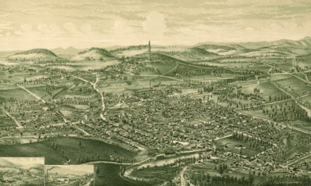 Bird's eye view of Bennington, Vermont in 1887
