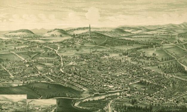 Bird's eye view of Bennington, Vermont in 1887