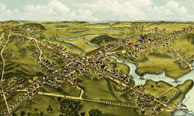 Restored bird's eye view of Clinton, CT from 1881