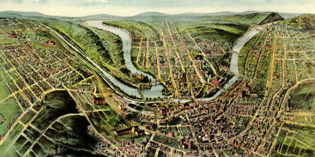Beautifully restored map of Cumberland, Maryland from 1906