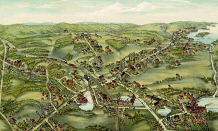 Restored bird's eye view of East Hampton, Connecticut from 1880