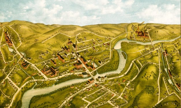 Hand painted map of Naugatuck, Connecticut from 1877