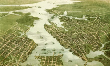 Beautifully restored map of Norfolk & Portsmouth, Virginia from 1873