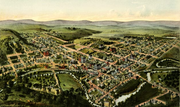 Beautiful bird's eye view of Oakland, Maryland from 1906