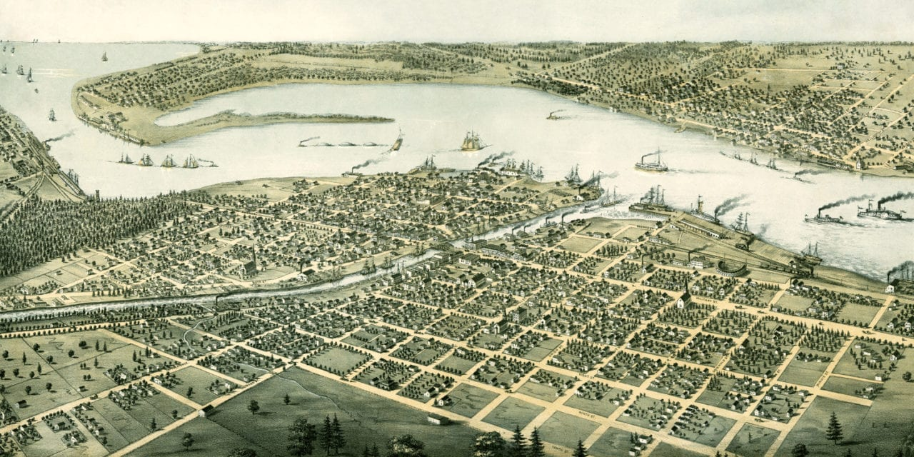 Beautifully restored map of Port Huron, Michigan from 1867
