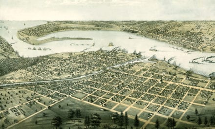 Bird's eye view of Port Huron, Michigan from 1867