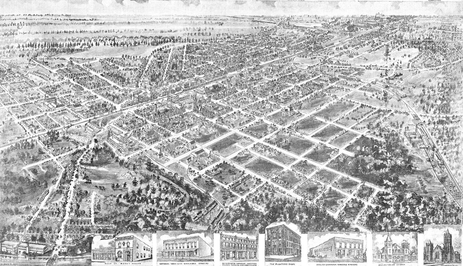 bird 39 s eye view of rocky mount north carolina in 1907 knowol. Black Bedroom Furniture Sets. Home Design Ideas
