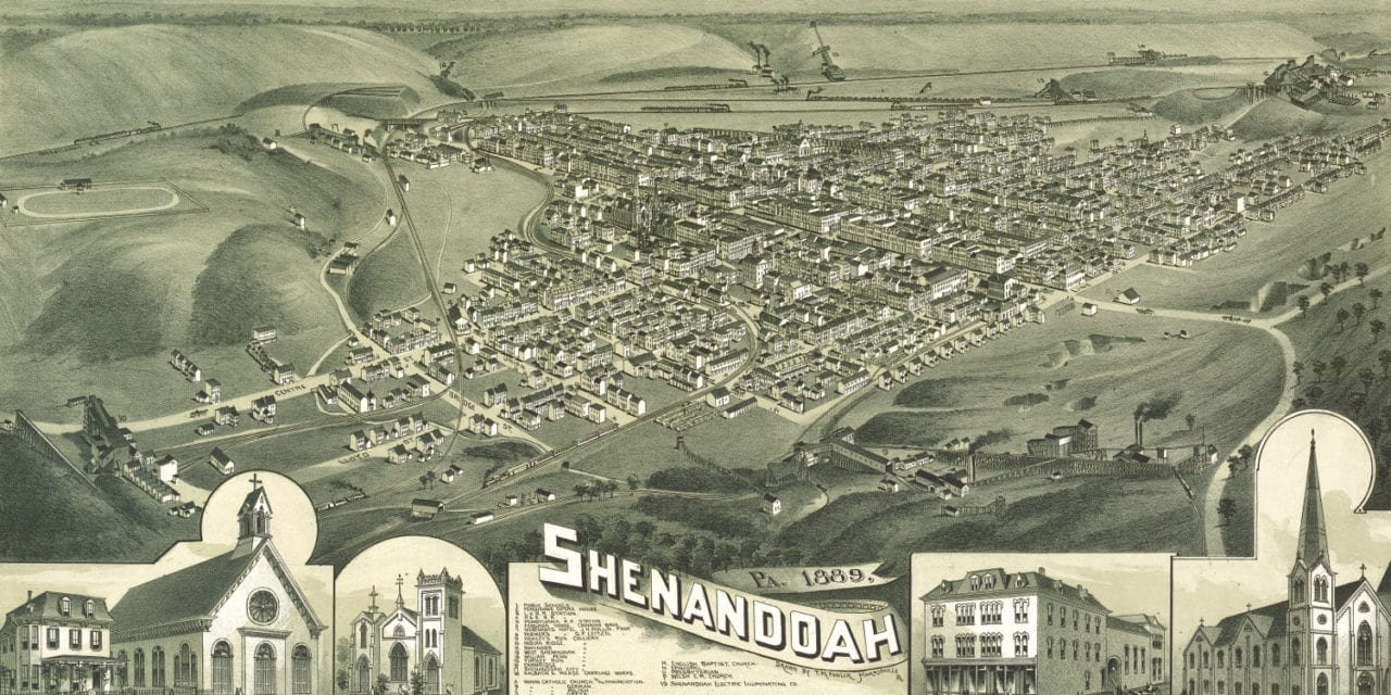 Beautiful bird's eye view of Shenandoah, PA from 1889