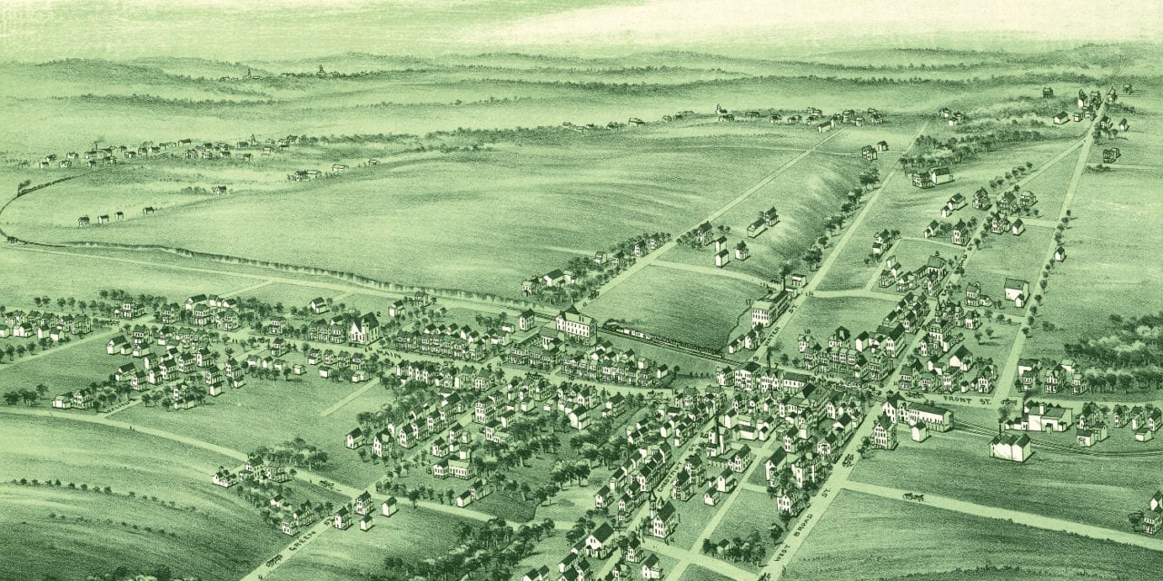 Beautiful old map of Souderton, Pennsylvania from 1894