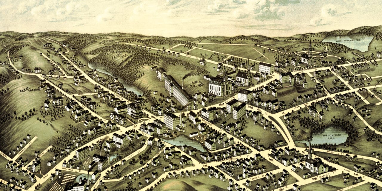 Restored bird's eye view of Spencer, MA from 1877