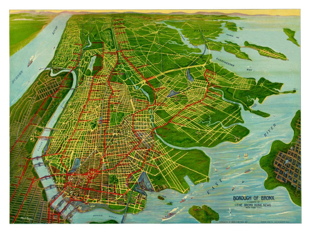 this beautifully colored map shows bronx landmarks such as fordham university bronx park the harlem river the hub at 149th street crotona park