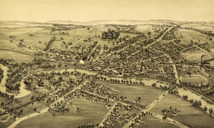 Old map shows bird's eye view of Cambridgeboro, PA in 1895