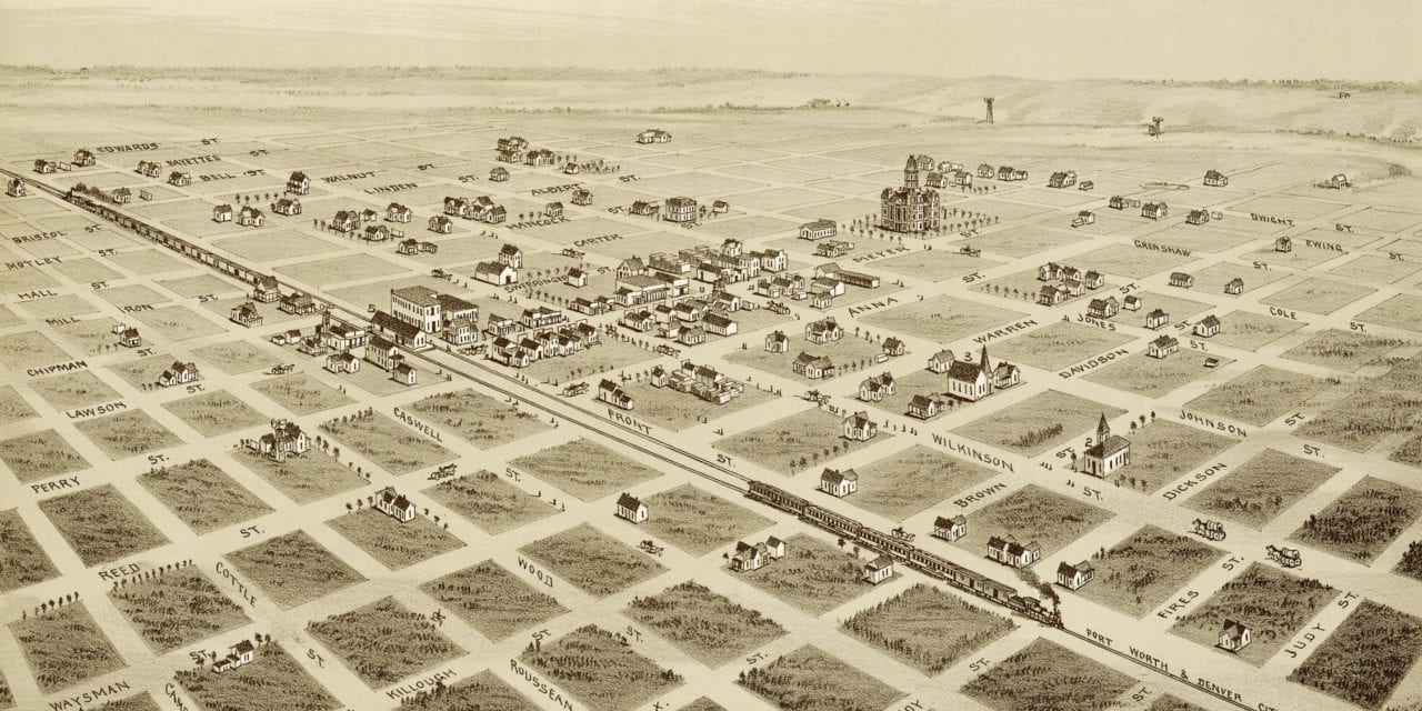 Vintage map shows bird's eye view of Childress, Texas in 1890